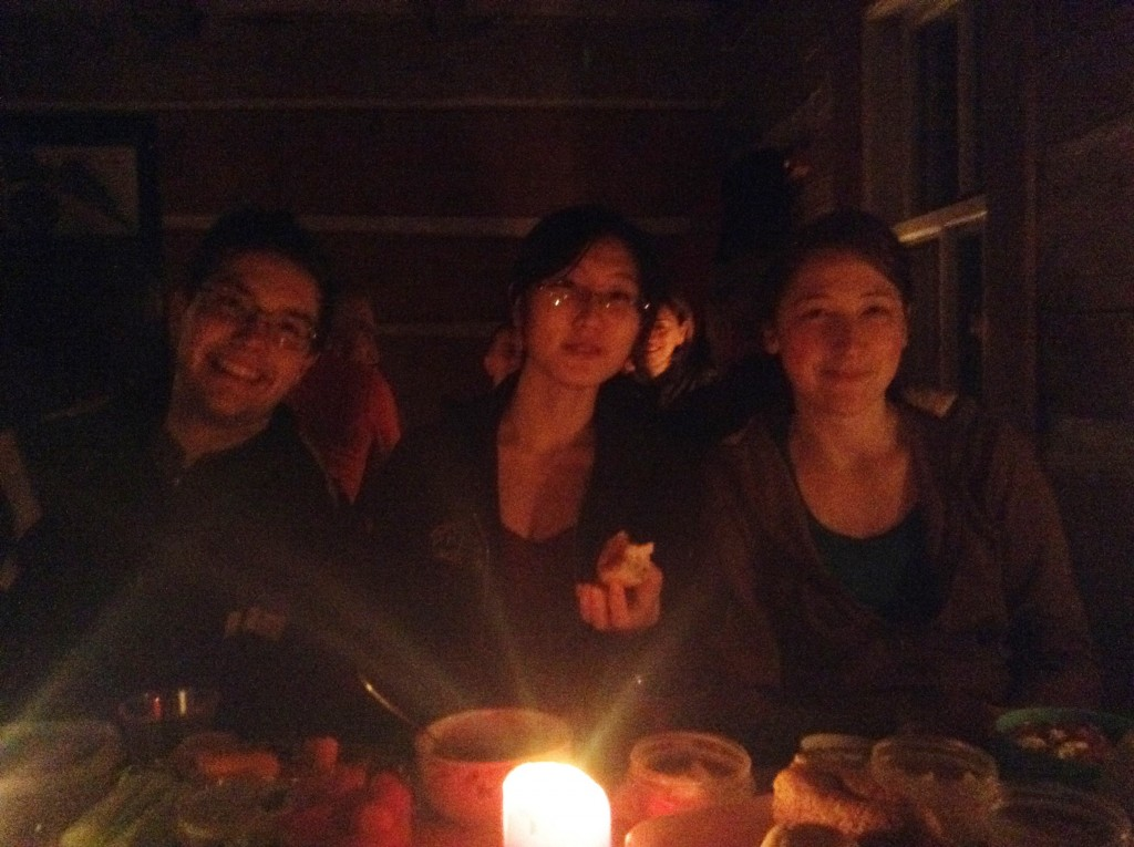 Proof that we were (almost) all there. Candlelit dinner at Herridge lodge in the Gatineau park. (Matthew, Jiayin, Camille)
