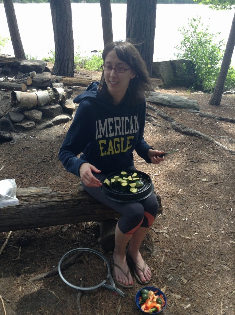 Teamwork is key when camp cooking. Jaimee learned how to cut up basically  EVERY vegetable...