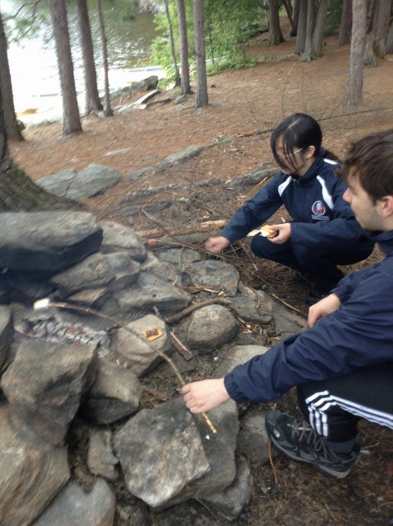 Toasted marshmallows for s'mores - a camping prerequisite.