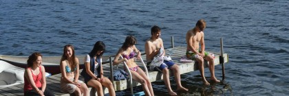 Nothing says summer like synchronized kicks off the dock after a swim.